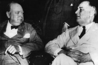 Winston Churchill and Franklin Roosevelt at a meeting of the Pacific War Council, Washington, D.C., June 1942