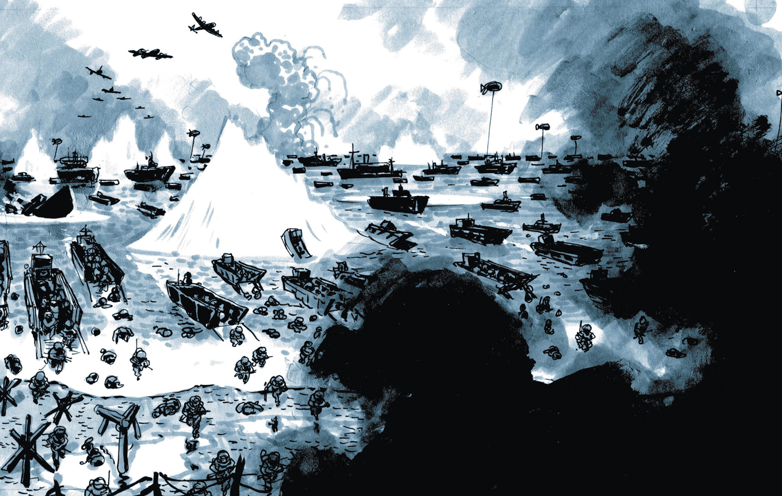 A drawing by Dominique Bertail from Omaha Beach on D-Day, which also includes Robert Capa's photographs of the invasion