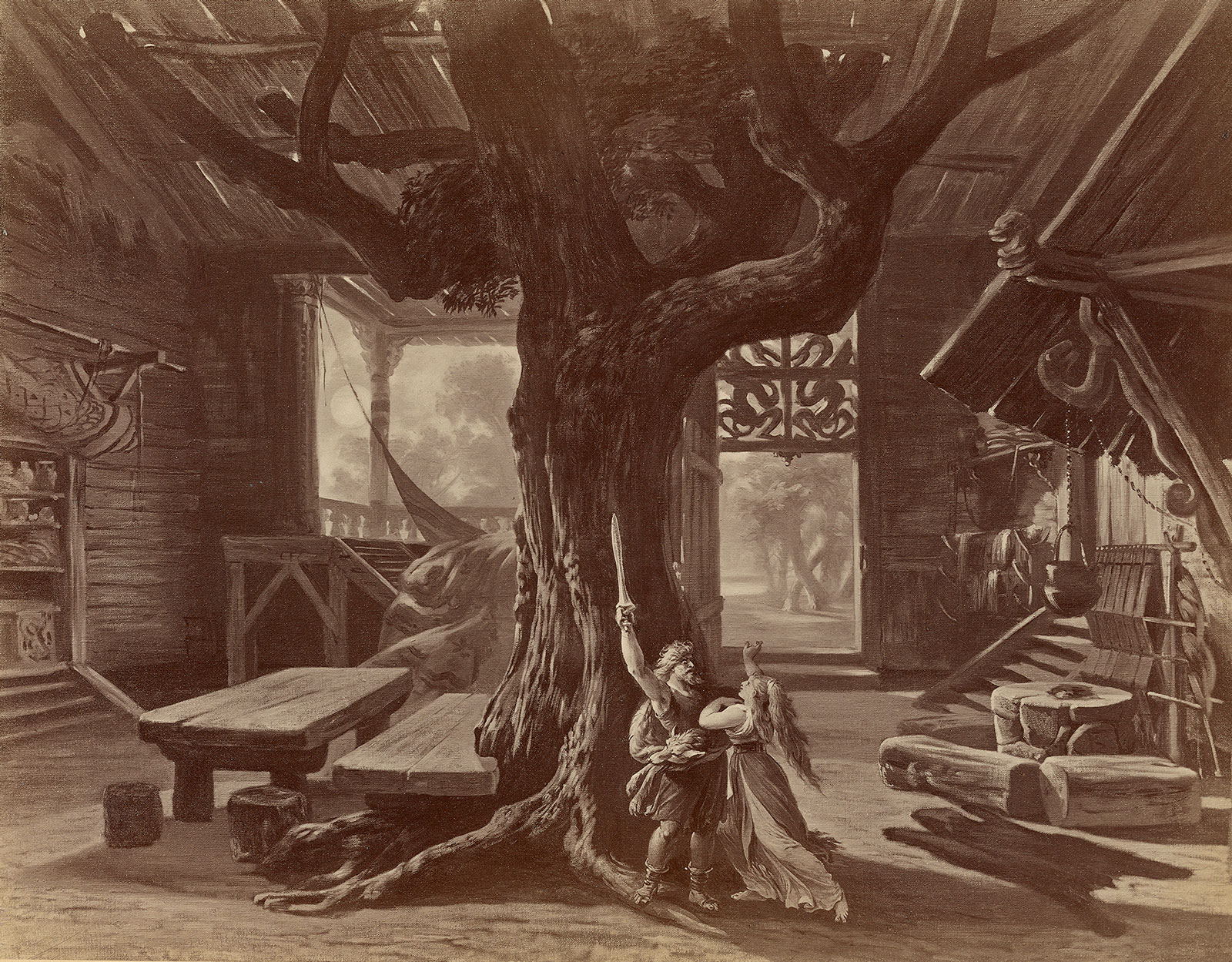 A stage design for Die Walküre, Act 1. Vienna: V. Angerer, by Joseph Hoffmann, circa 1878