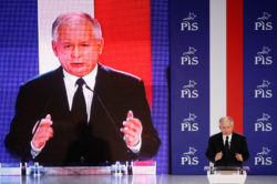 Jarosław Kaczyński, leader of Poland's main opposition Law and Justice Party (PiS) speaks during the final pre-election convention in Warsaw, October 7, 2011
