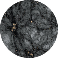 A detail of an image from the American Museum of Natural History's space show Dark Universe (2013), directed by Carter Emmart and narrated by Neil deGrasse Tyson, showing the distribution of so far unseen dark matter in the universe. It is simulated here with the use of a high-resolution algorithm at the Kavli Institute of Particle Astrophysics and Cosmology at Stanford University and the Stanford National Accelerator Laboratory.