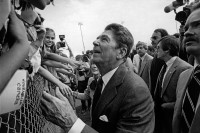 Ronald Reagan being welcomed by Puerto Ricans and Cubans in Tampa, Florida, during his 1980 presidential campaign