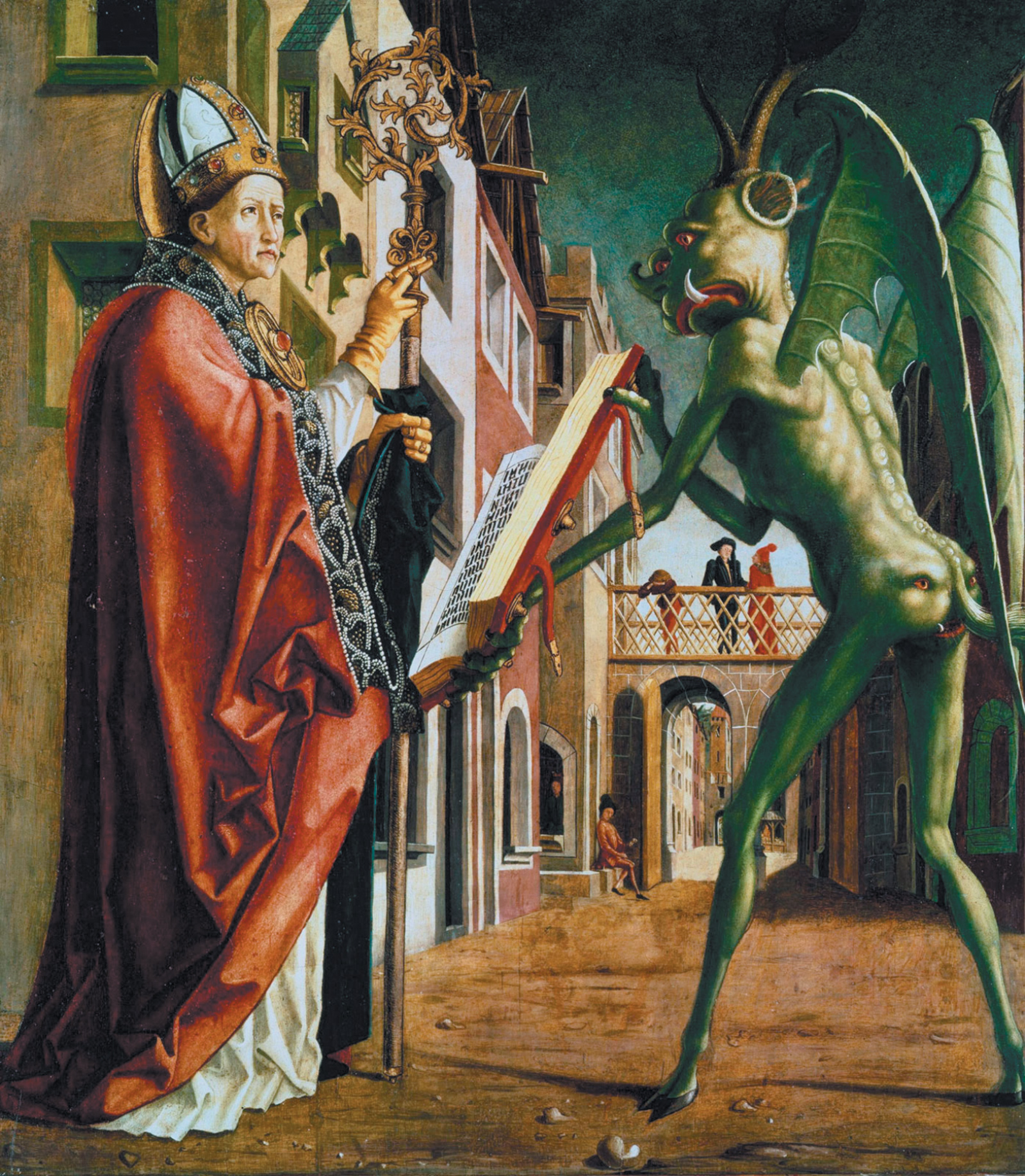 'The Devil Presenting Saint Augustine with the Book of Vices'; painting by  Michael