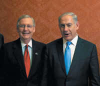 Senate Majority Leader Mitch McConnell and Israeli Prime Minister Benjamin Netanyahu during Netanyahu's visit to Washington, D.C., to speak against President Obama's policy on Iran's nuclear program before a joint session of Congress, March 2015