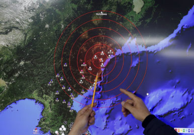 A map of seismic waves from North Korea's nuclear test, Korea Meteorological Administration, Seoul, South Korea, January 6, 2016