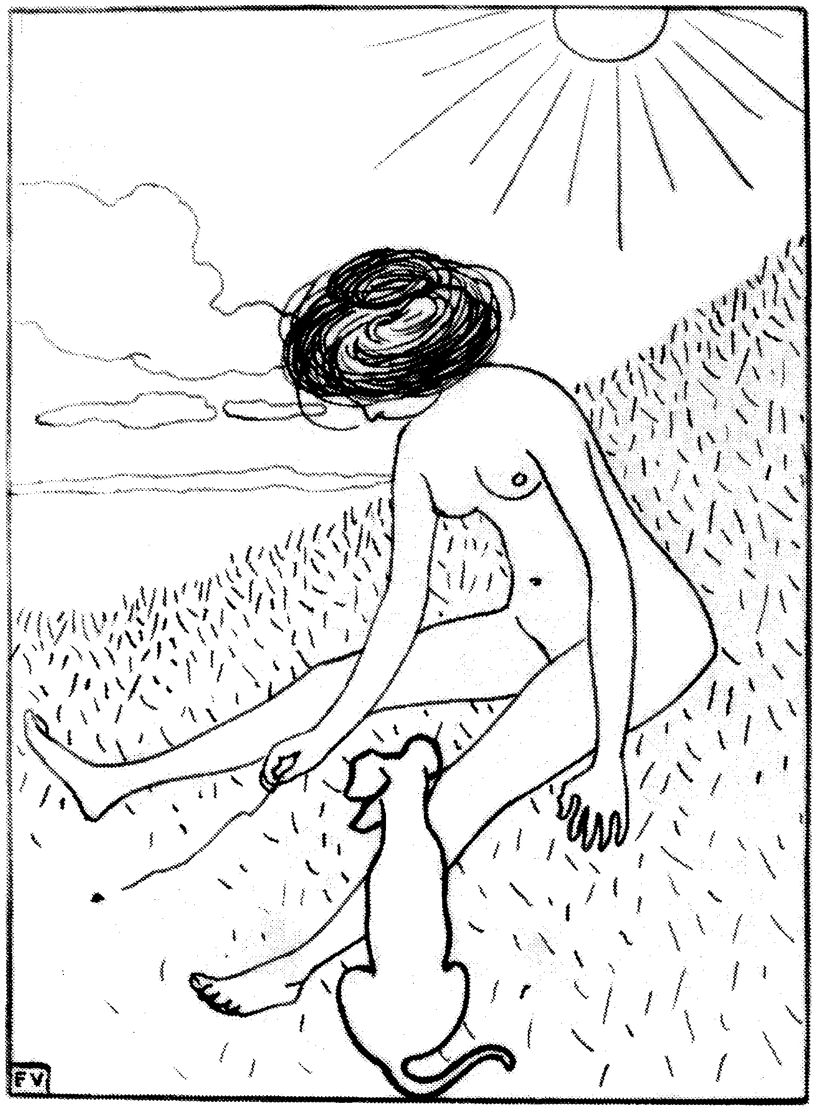 'Bather playing with a dog'; drawing by Félix Vallotton