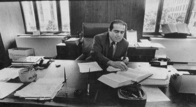 Judge Antonin Scalia in his office, shortly before his confirmation to the Supreme Court, Washington, D.C., July 28, 1986