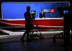 The Tolo TV news studio, in Kabul, Afghanistan, October 18, 2015