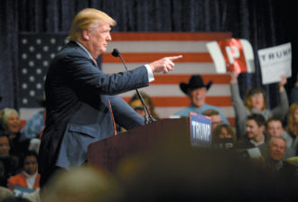 Donald Trump at a campaign rally in Reno, Nevada, January 2016