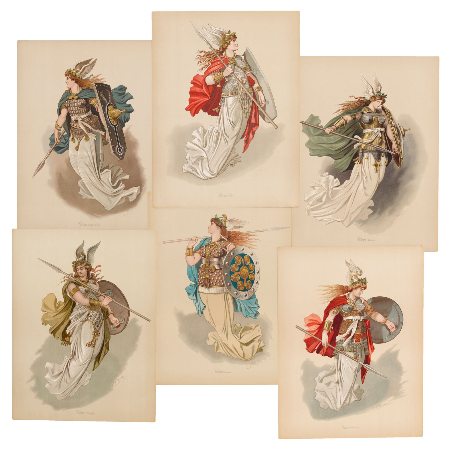 A selection of costume designs for Der Ring des Nibelungen: Figurinen by Carl Emil Doepler, Berlin, 1889,