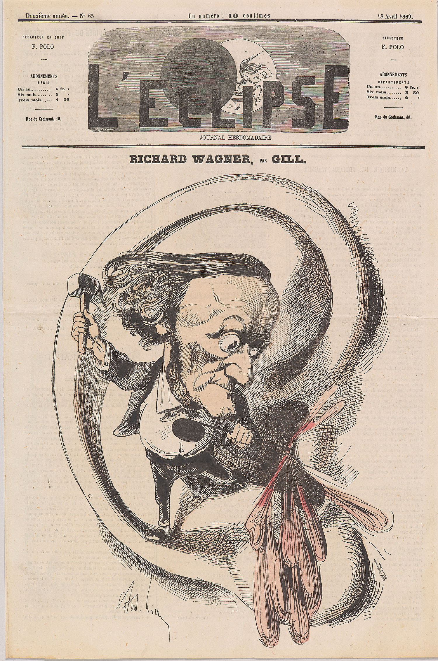 André Gill: Richard Wagner (caricature), L'Éclipse, April 18, 1869