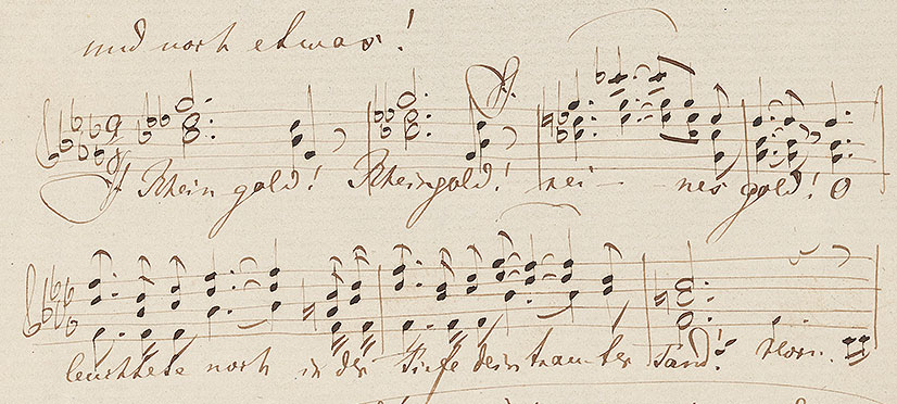Richard Wagner's letter to Carolyne Sayn-Wittgenstein including the closing measures of Das Rheingold (detail), Zurich, January 16, 1854
