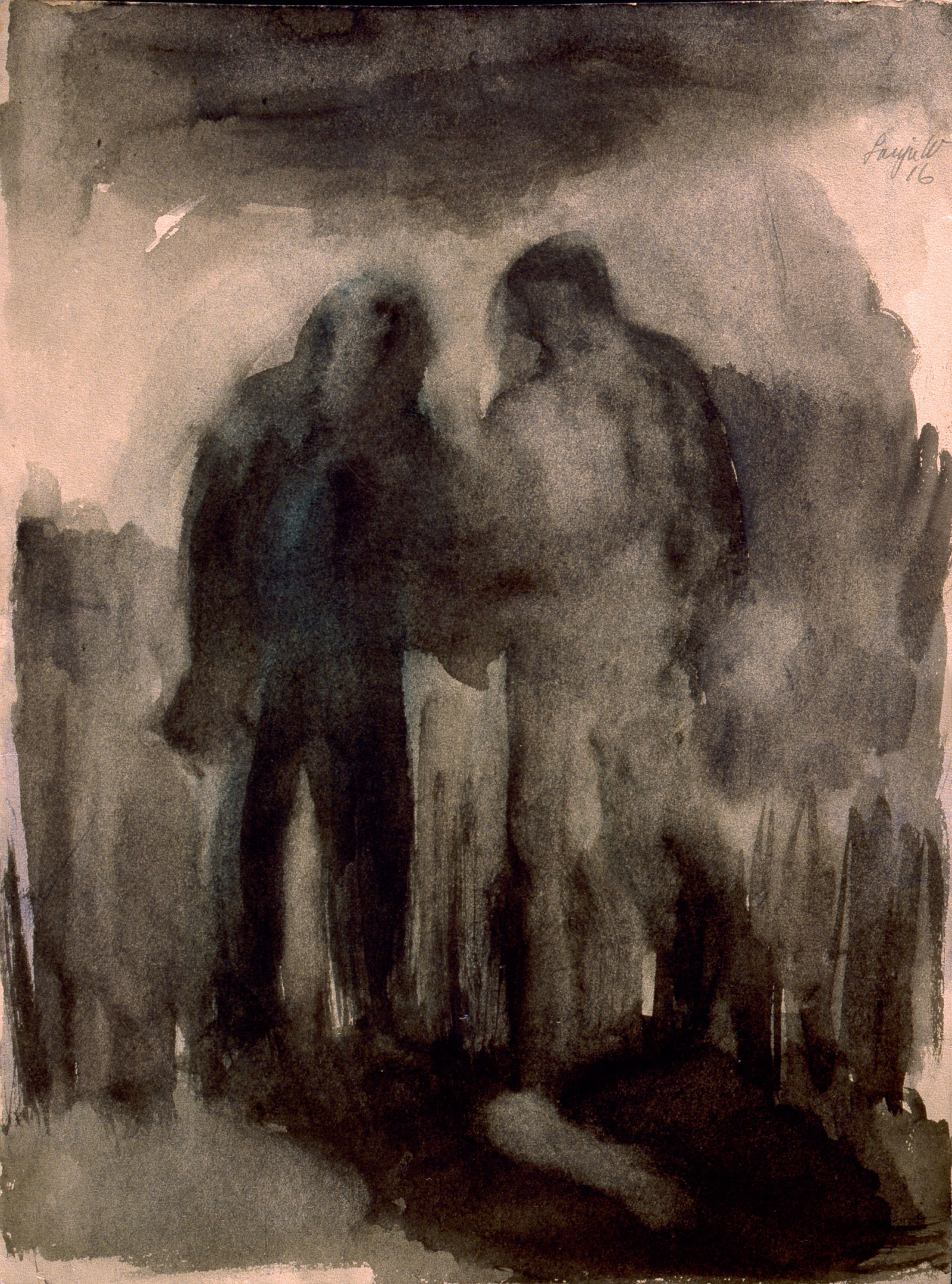 Drawing by Sonja Waldsteinová during her captivity in Terezín concentration camp; Waldsteinová, who survived, was sixteen when she was interned in March 1943