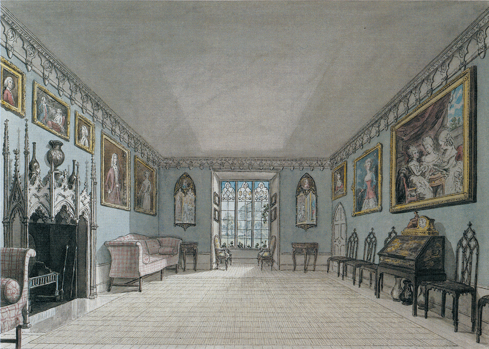 The Great Parlour at Strawberry Hill; at far right is Joshua Reynolds's painting of Horace Walpole's grandnieces, The Ladies Waldegrave, 1780–1781