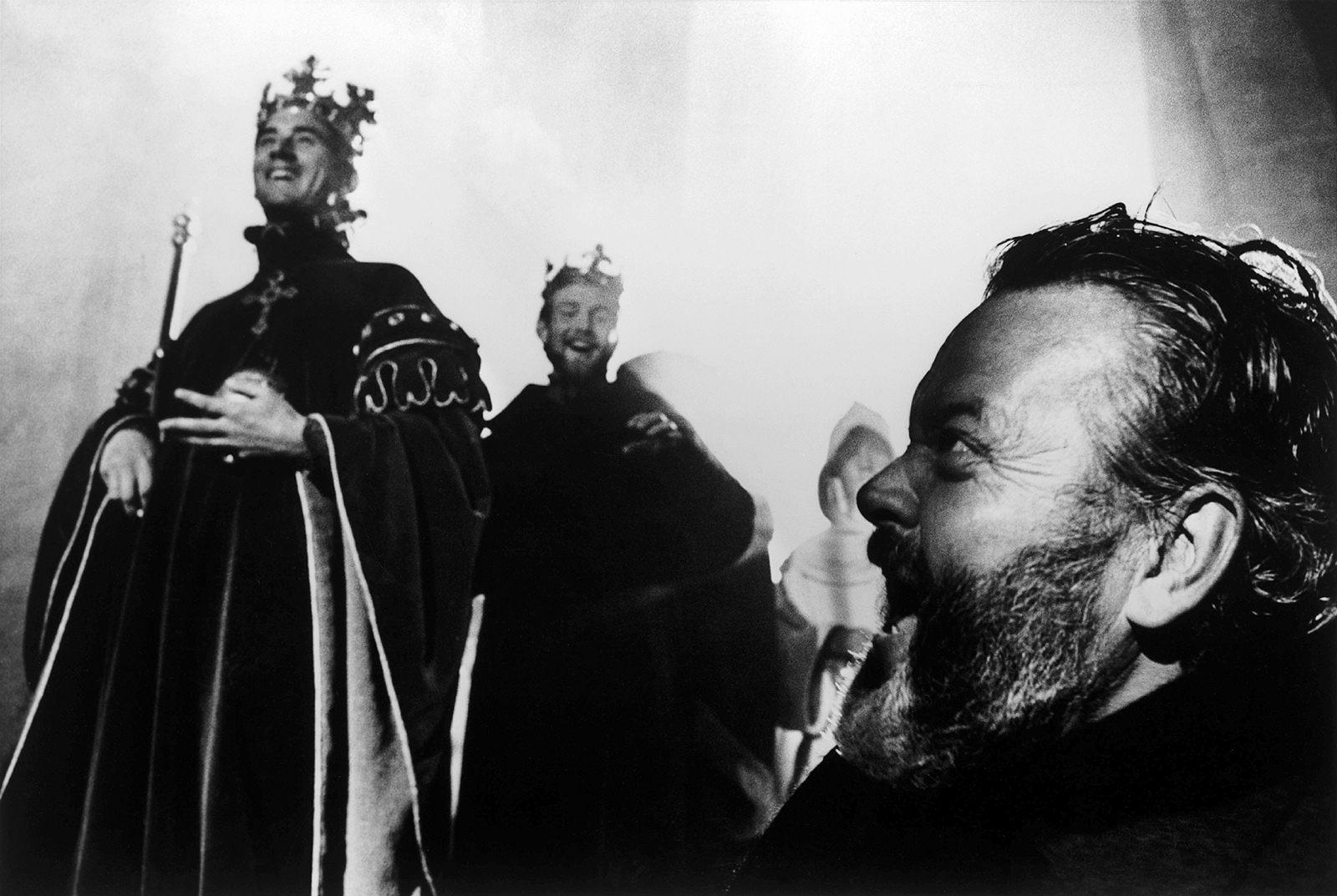 Orson Welles on the set of Chimes at Midnight, 1964