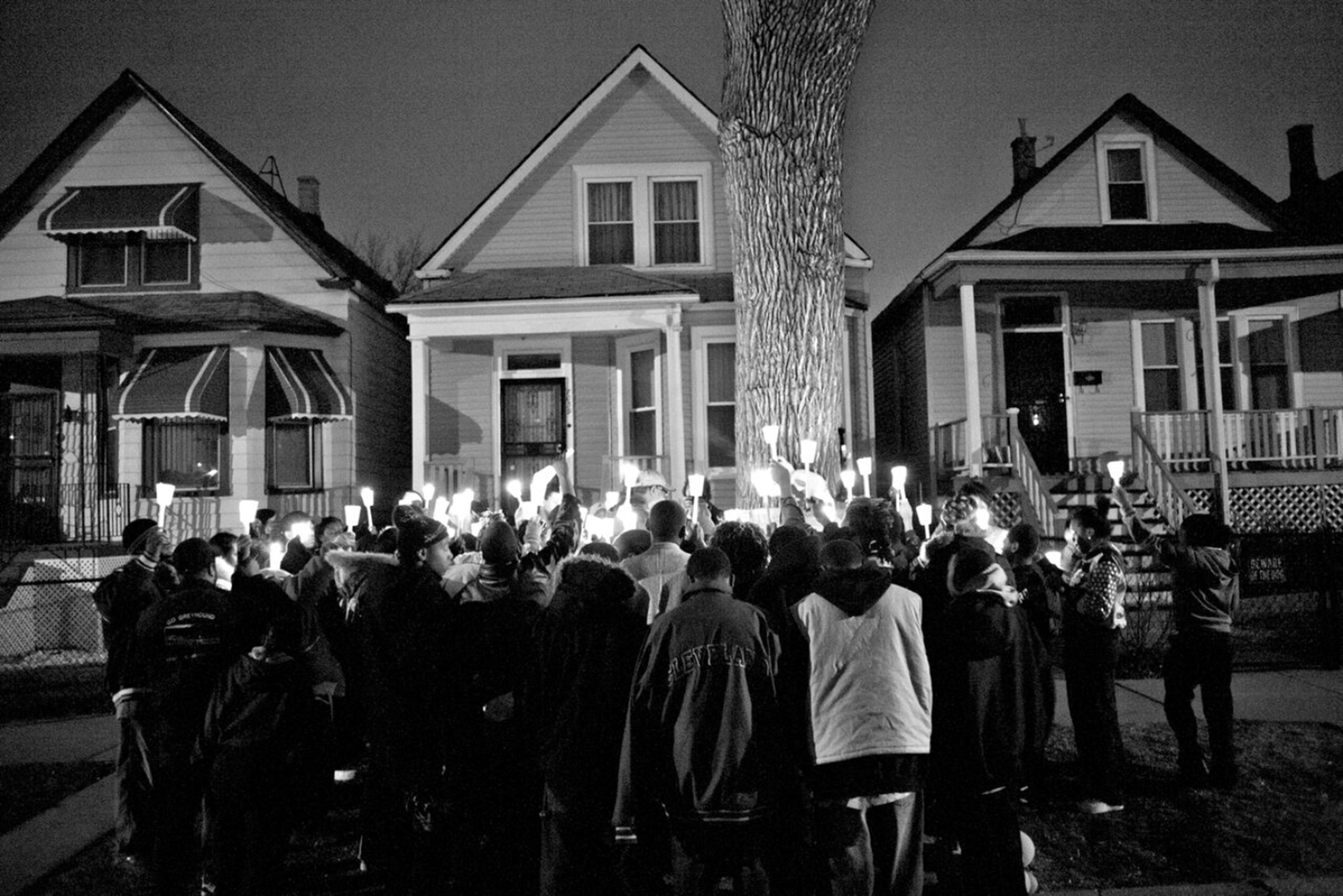 A vigil for Albert Vaughn, a high school student who was beaten to death after a birthday party in Chicago's Englewood neighborhood, 2008; photograph by Carlos Javier Ortiz from his book We All We Got, published last year by Red Hook Editions