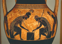 'Achilles and Ajax playing dice'; Attic black-figure amphora by Exekias, from Vulci, Italy, circa 540–530 BCE