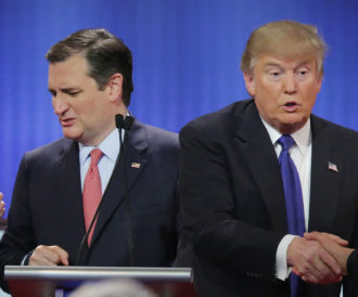 Republican presidential candidates, Senator Ted Cruz and Donald Trump, Detroit, Michigan, March 3, 2016