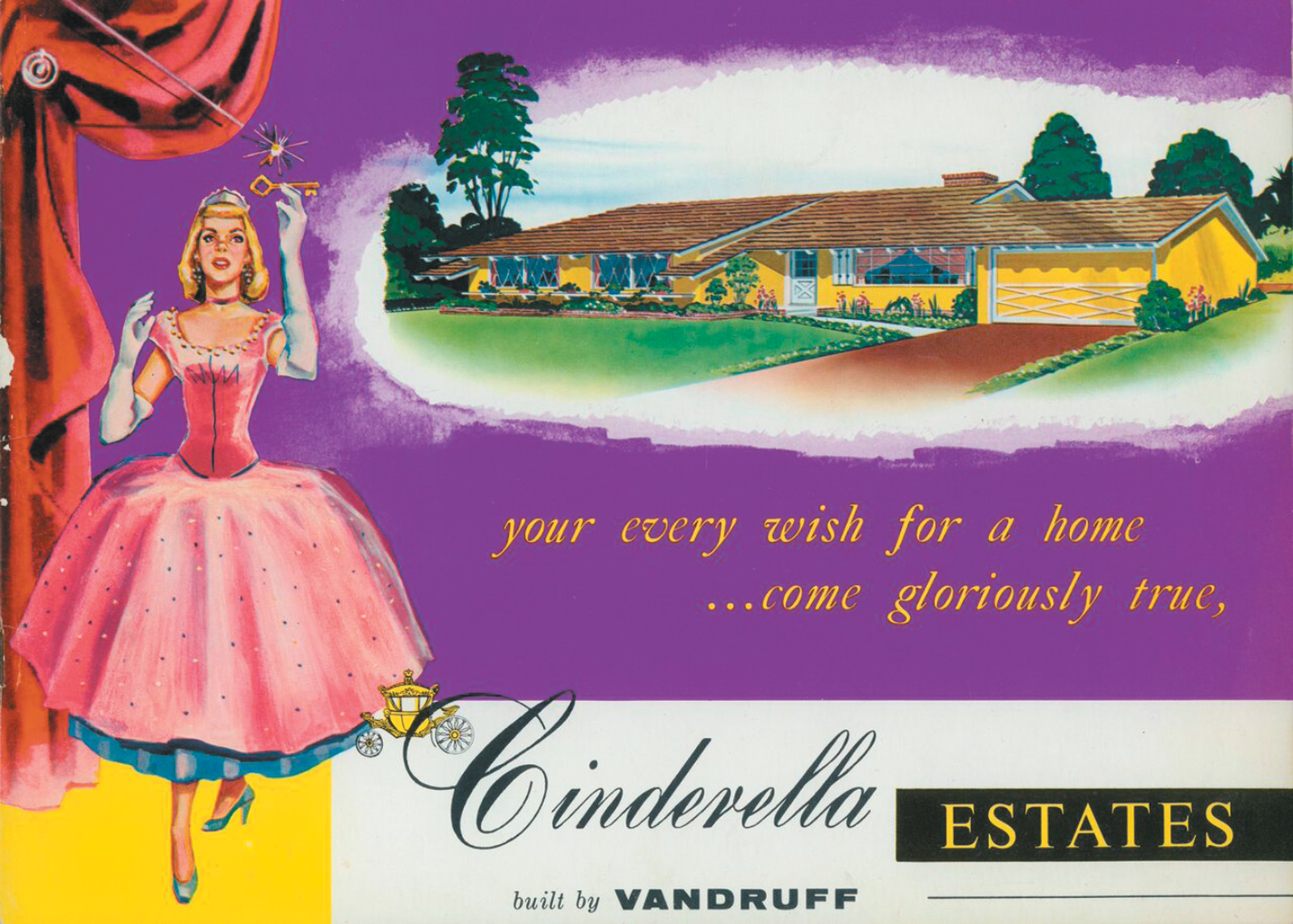The cover of a Cinderella Homes sales brochure, 1955–1957; from Barbara Miller Lane's Houses for a New World