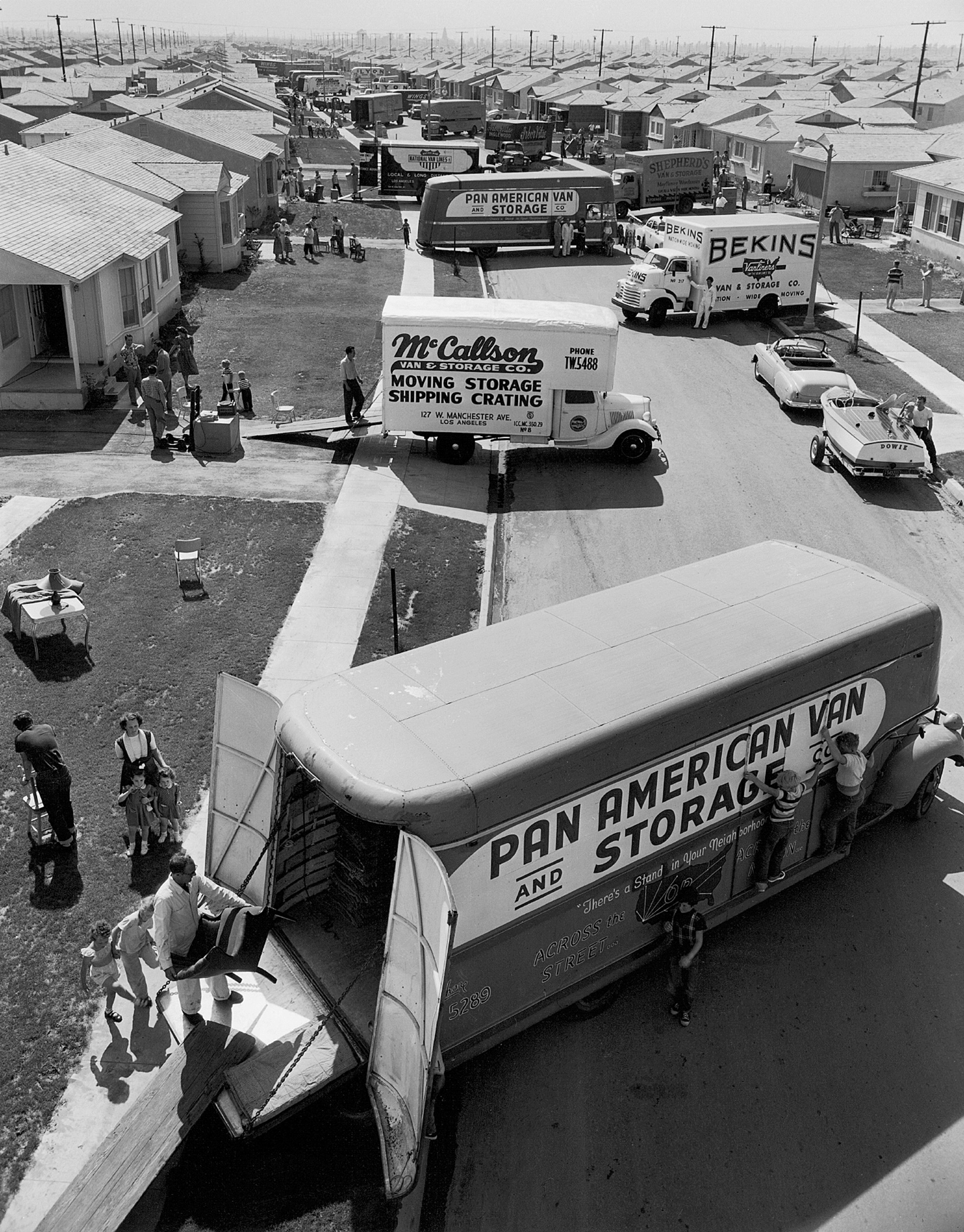 Moving day at a new housing development, Los Angeles, 1952