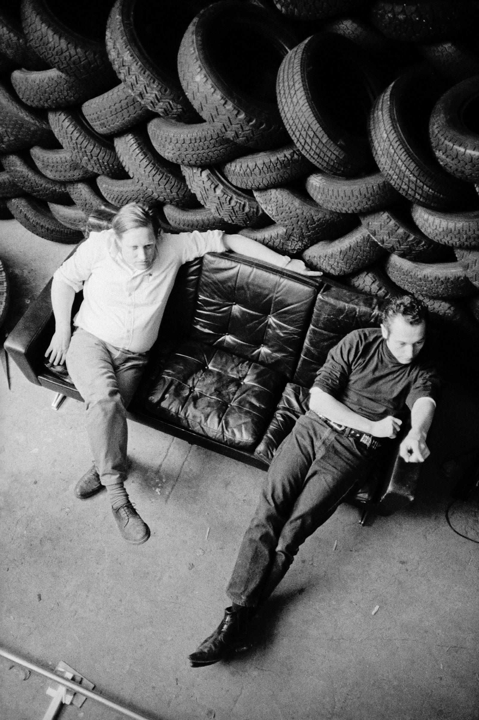 David Weiss and Peter Fischli in their Zürich studio, circa 1987