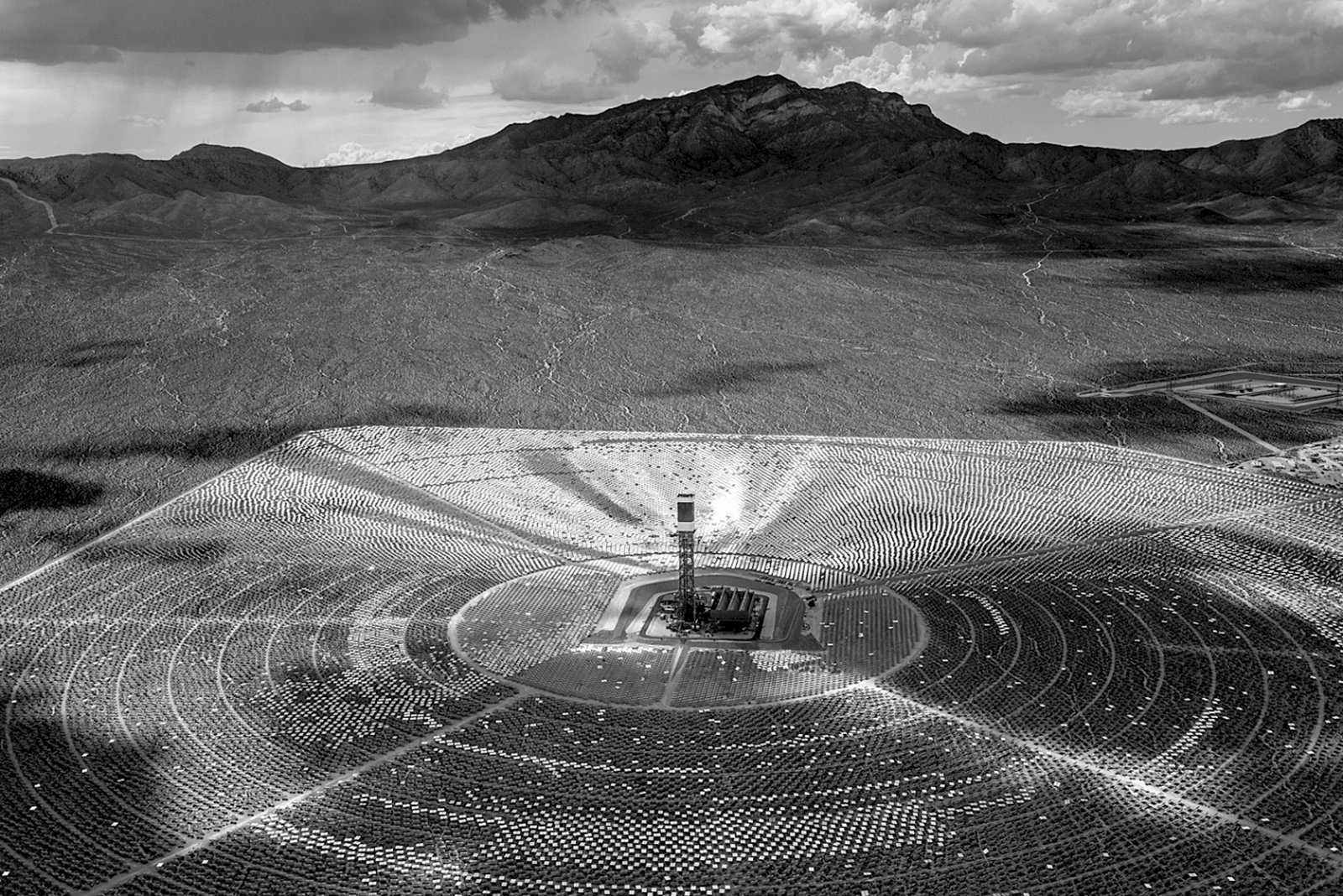 The Ivanpah solar power plant, Mojave Desert, California, 2013; photograph by Jamey Stillings from his book The Evolution of Ivanpah Solar, published by Steidl. It is also in the exhibition 'Changing Circumstances: Looking at the Future of the Planet,' at the FotoFest 2016 Biennial, Houston, March 12–April 24, with a catalog published by Schilt.