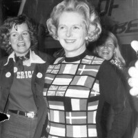 Margaret Thatcher, the new leader of the Conservative Party, campaigning for England to remain part of the European Economic Community, June 1975