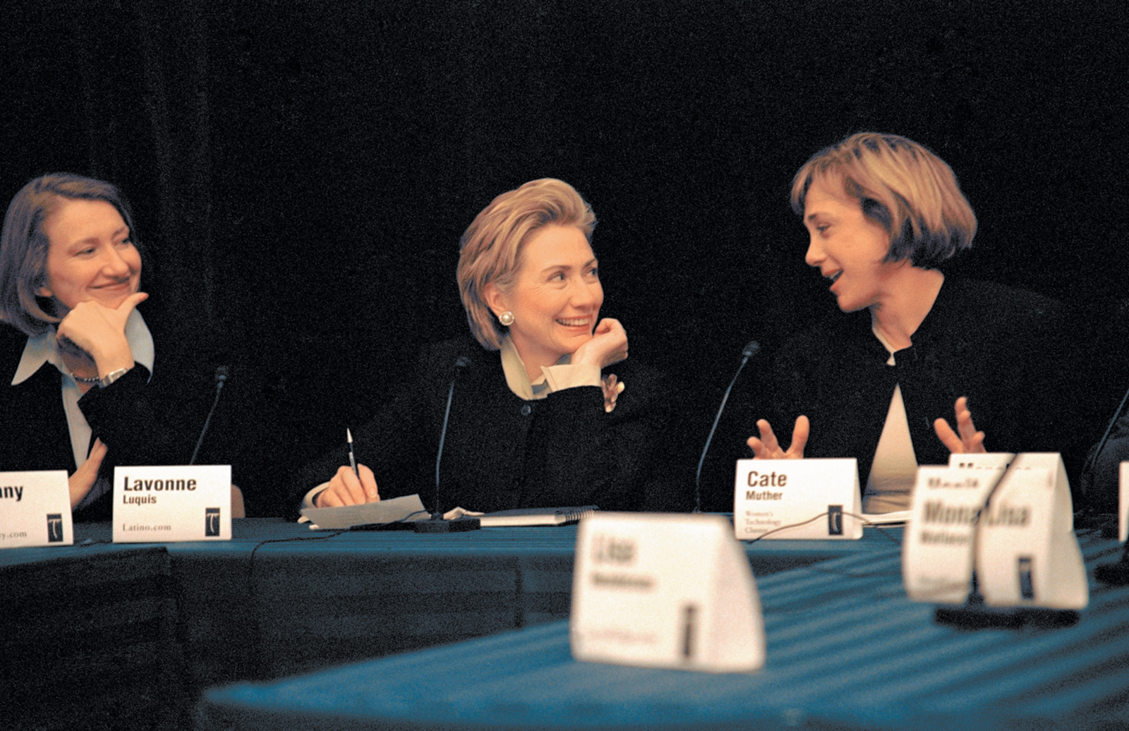 Hillary Clinton at a roundtable discussion about women and technology, San Francisco, March 2000. At left is Lavonne Luquis, cofounder of the Internet start-up Latino.com; at right is Cate Muther, founder of the Women's Technology Cluster (now called Astia), an incubator for female entrepreneurs in the high-tech industry.
