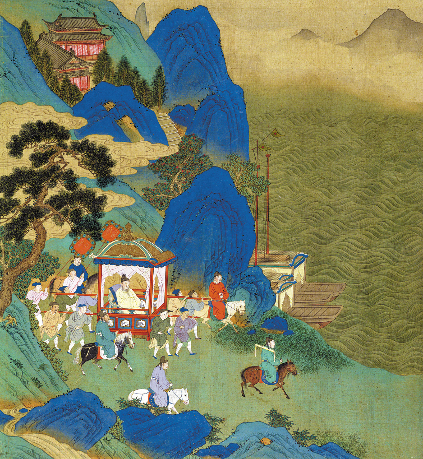 'Emperor Qin Shi Huang traveling in a palanquin,' late third century BCE; eighteenth-century painting from The History of the Lives of the Chinese Emperors