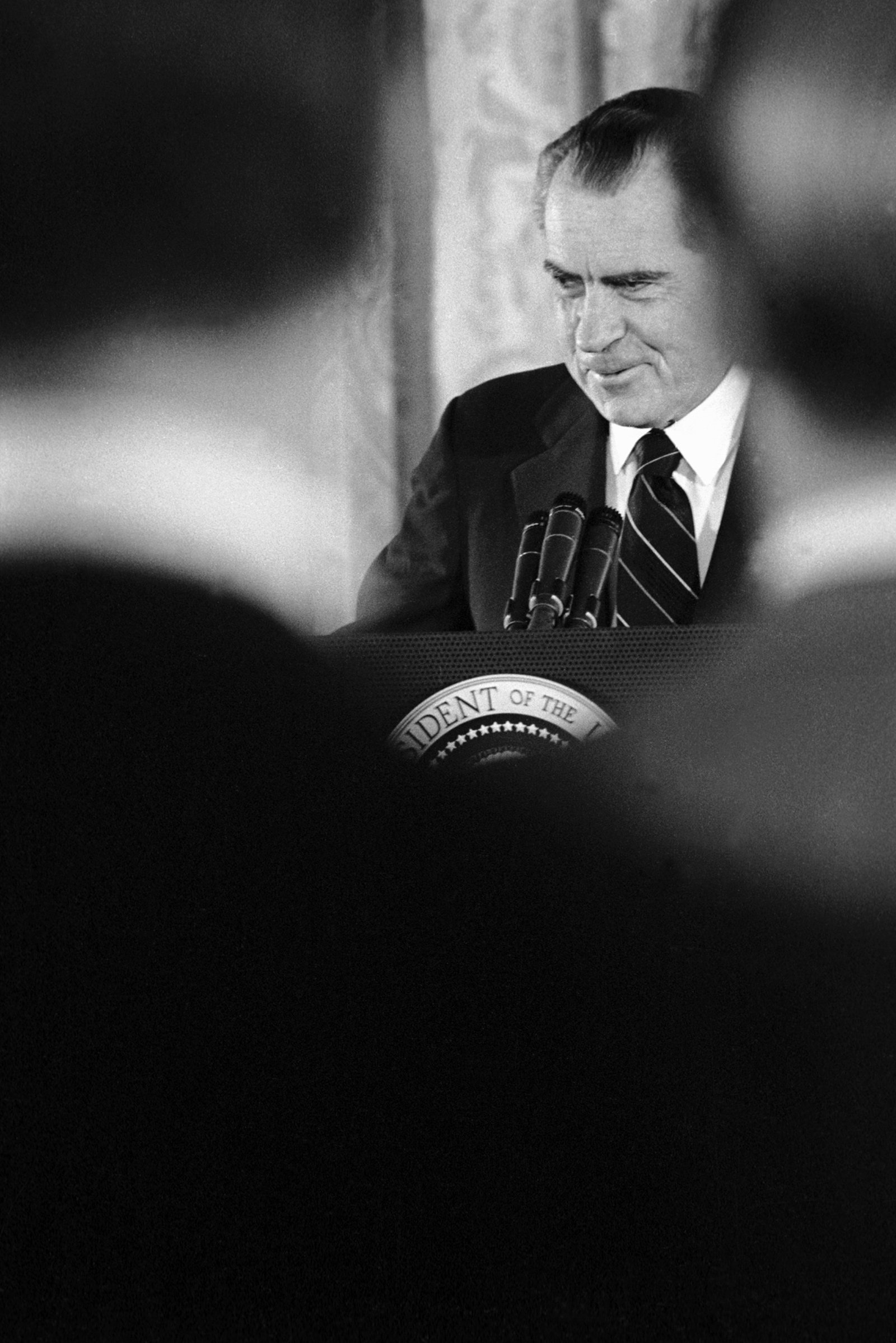 Richard Nixon at a press conference at the White House, October 1973