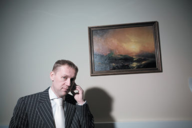 Andrei Lugovoy in his office at the Radisson Slavyanskaya Hotel, Moscow, 2007. He and Dmitry Kovtun are believed to have poisoned the exiled Kremlin critic Alexander Litvinenko in London in 2006.