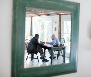 President Obama and John Brennan, then assistant to the president for homeland security and counterterrorism, on a conference call about the situation in Libya, Martha's Vineyard, August 2011