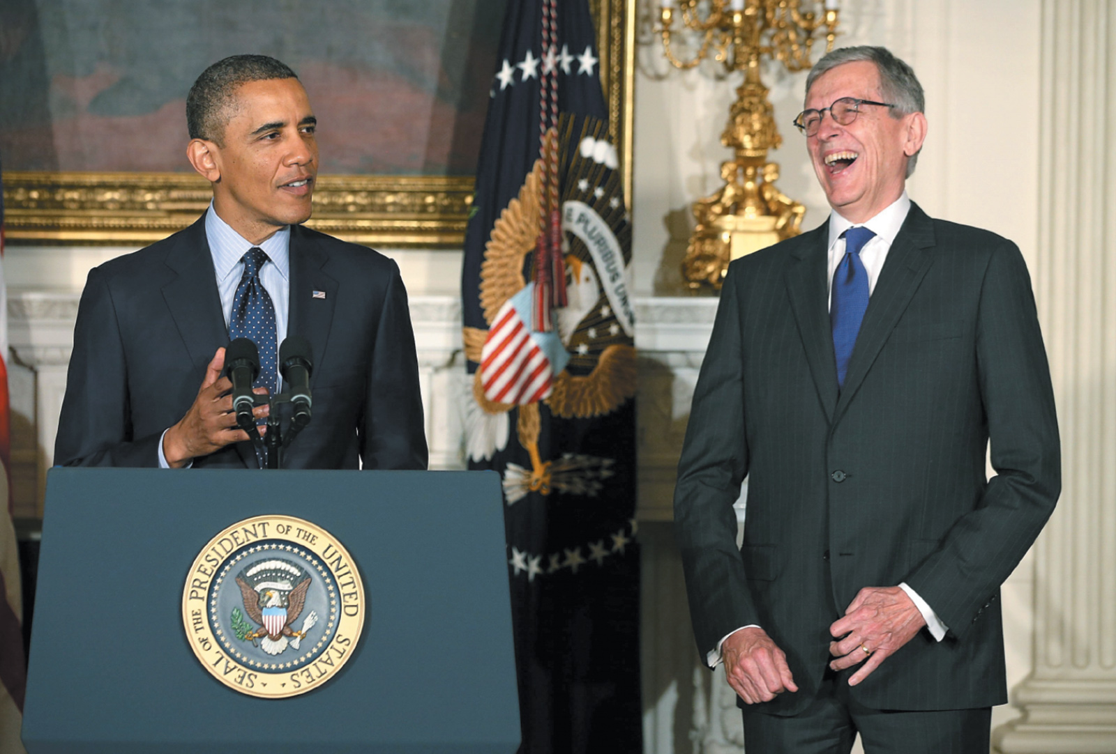 President Obama announcing his nomination of the telecom industry lobbyist Tom Wheeler as chairman of the Federal Communications Commission, May 2013