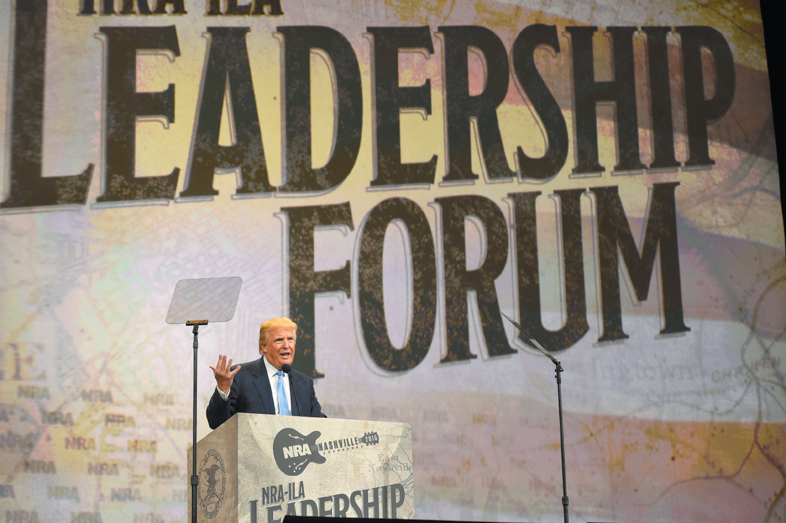Donald Trump speaking at the National Rifle Association's annual meeting, Nashville, April 2015