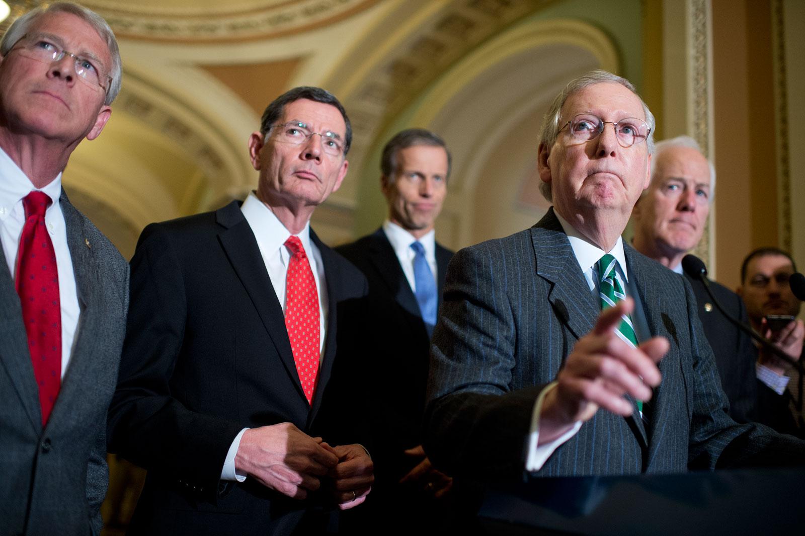 Republican Senators Roger Wicker, John Barrasso, and John Thune, Senate Majority Leader Mitch McConnell, and Majority Whip John Cornyn, Washington, D.C., February 9, 2016