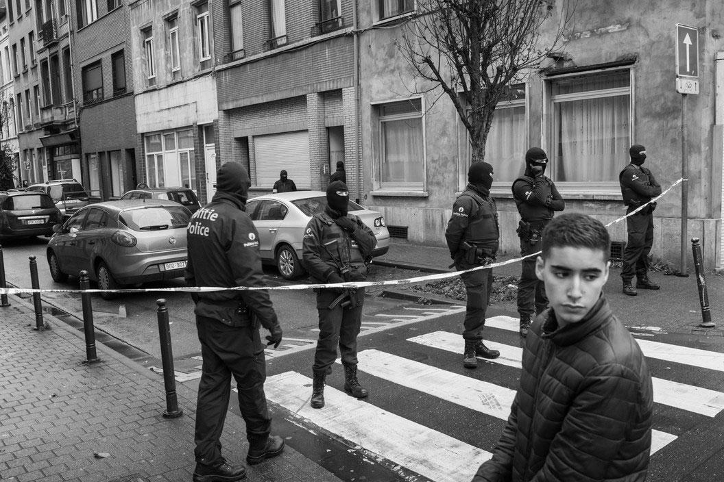 Following the November 2015 attacks in Paris, the predominantly Muslim neighborhood of Molenbeek Saint Jean was heavily policed, Brussels, Belgium, November 16, 2015