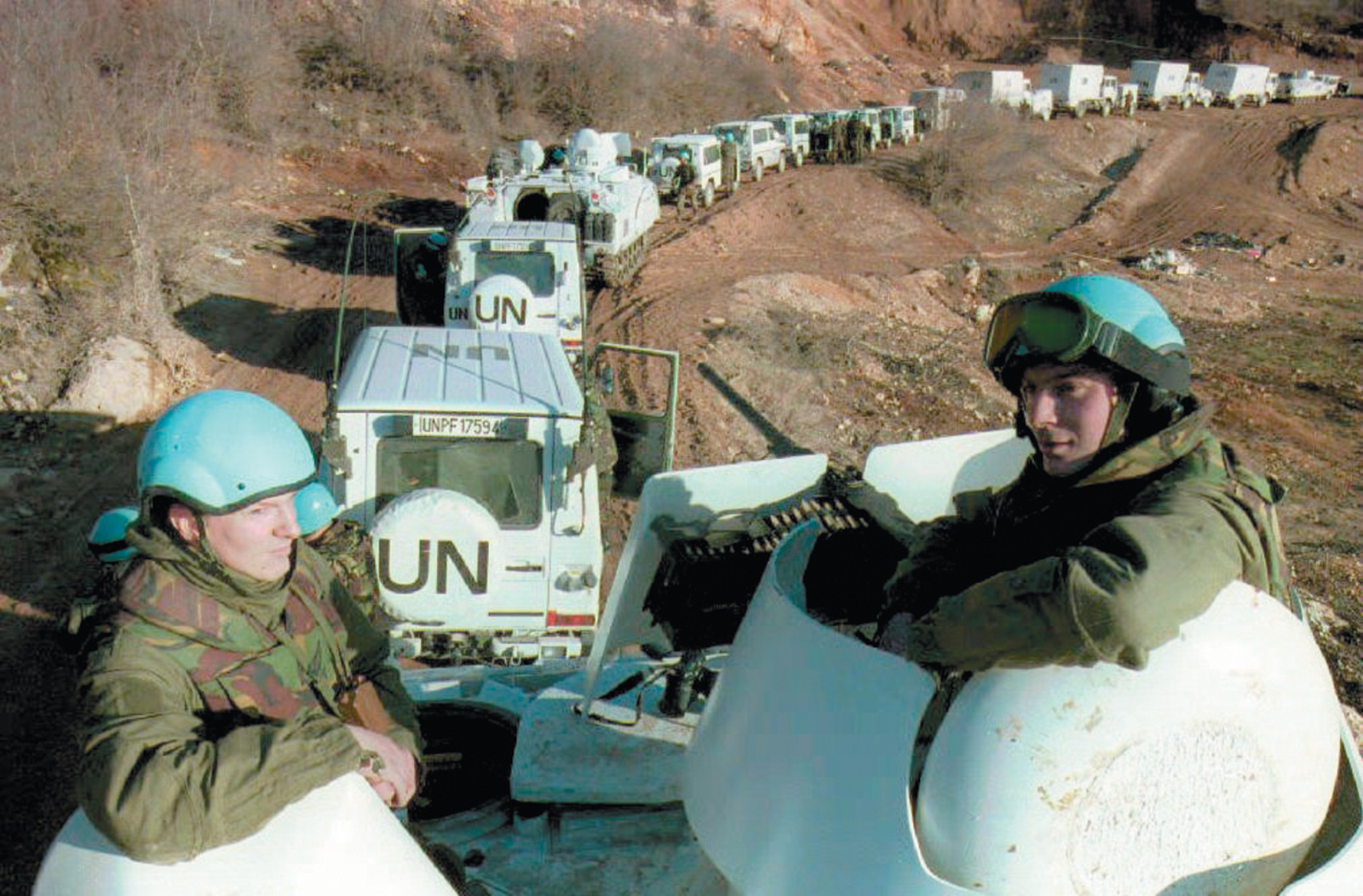Dutch soldiers in a UN convoy on its way to Lukavac, at the same time that another convoy was sent to Srebrenica, Bosnia-Herzegovina, February 1994. In July 1995 UN peacekeepers were unable to defend Srebrenica against the attacks of the Bosnian Serbs, who captured the city and massacred more than eight thousand Bosnian Muslims.