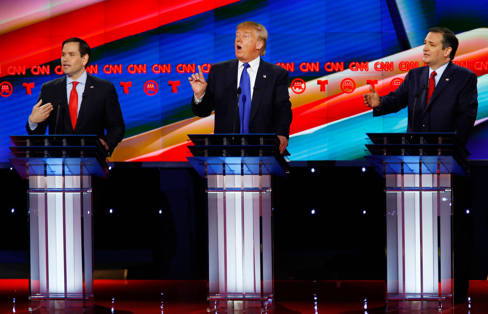 Senator Marco Rubio, Donald Trump and Senator Ted Cruz speak at the CNN-sponsored debate for the 2016 Republican US presidential candidates, Houston, Texas, February 25, 2016