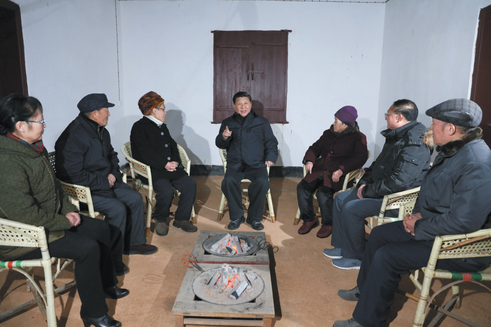 Xi Jinping, center, meeting with representatives and descendants of revolutionary martyrs in Nanchang, Jiangxi province, during a trip over the Lunar New Year that also included a pilgrimage to Jinggangshan, Mao's first revolutionary base, February 2016