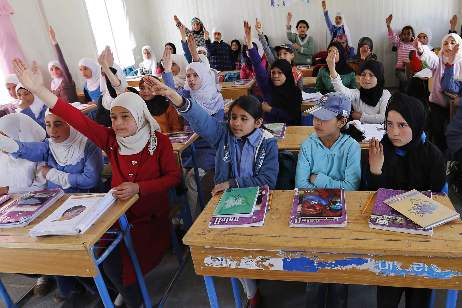 Syrian refugee students in a UNICEF school at the Al Zaatari refugee camp, near Jordan's border with Syria, March 11, 2015