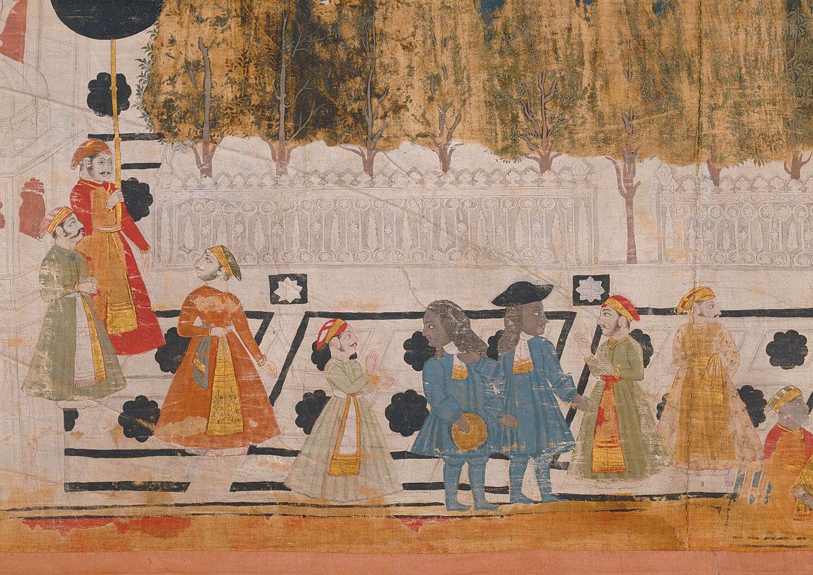 'The Dutch delegation of Johan Josua Ketelaar to the Maharana Sangram Singh in Udaipur'; detail of a tempera painting on cotton, 1711