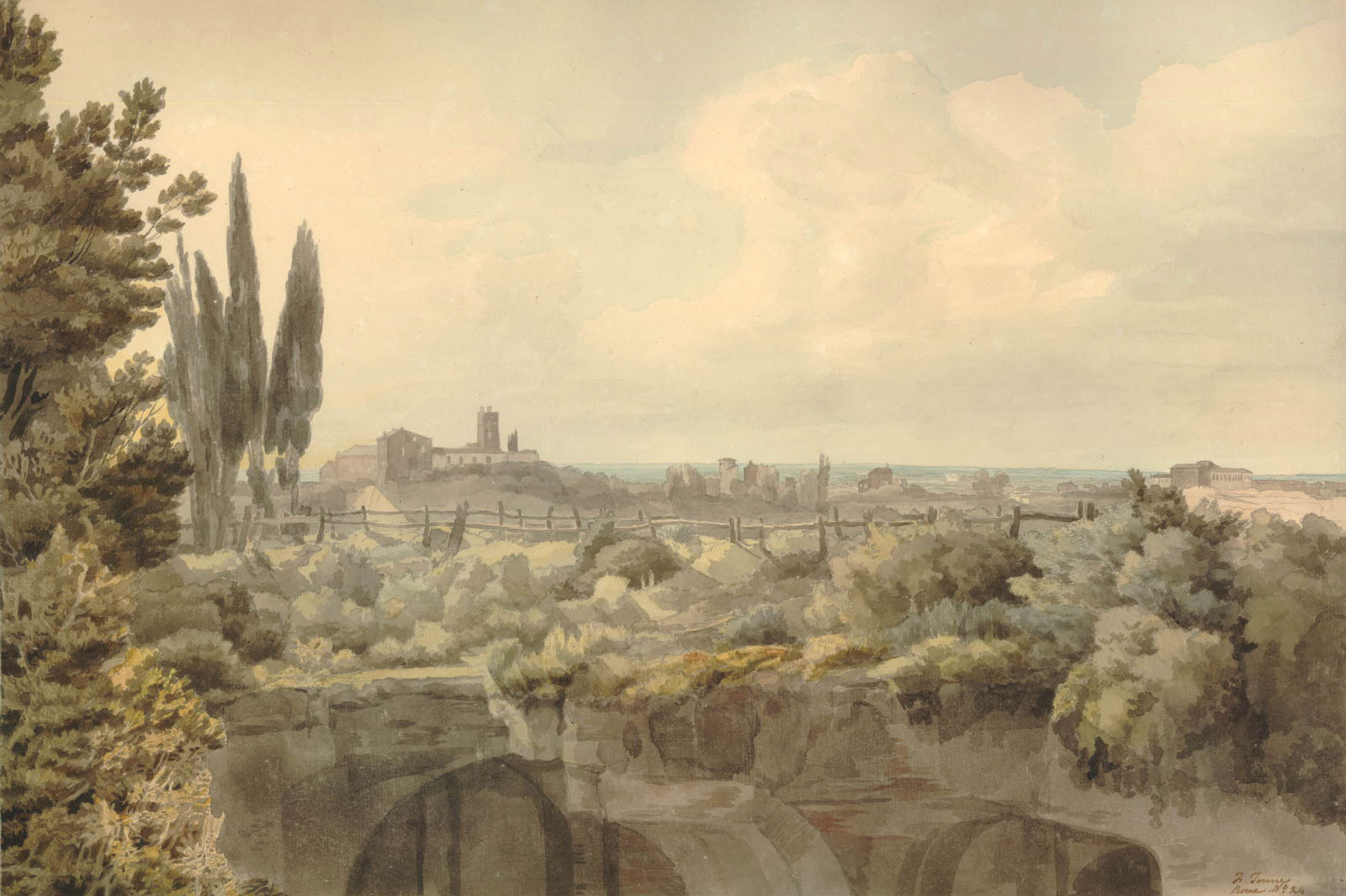 Francis Towne: The Baths of Caracalla, 1781