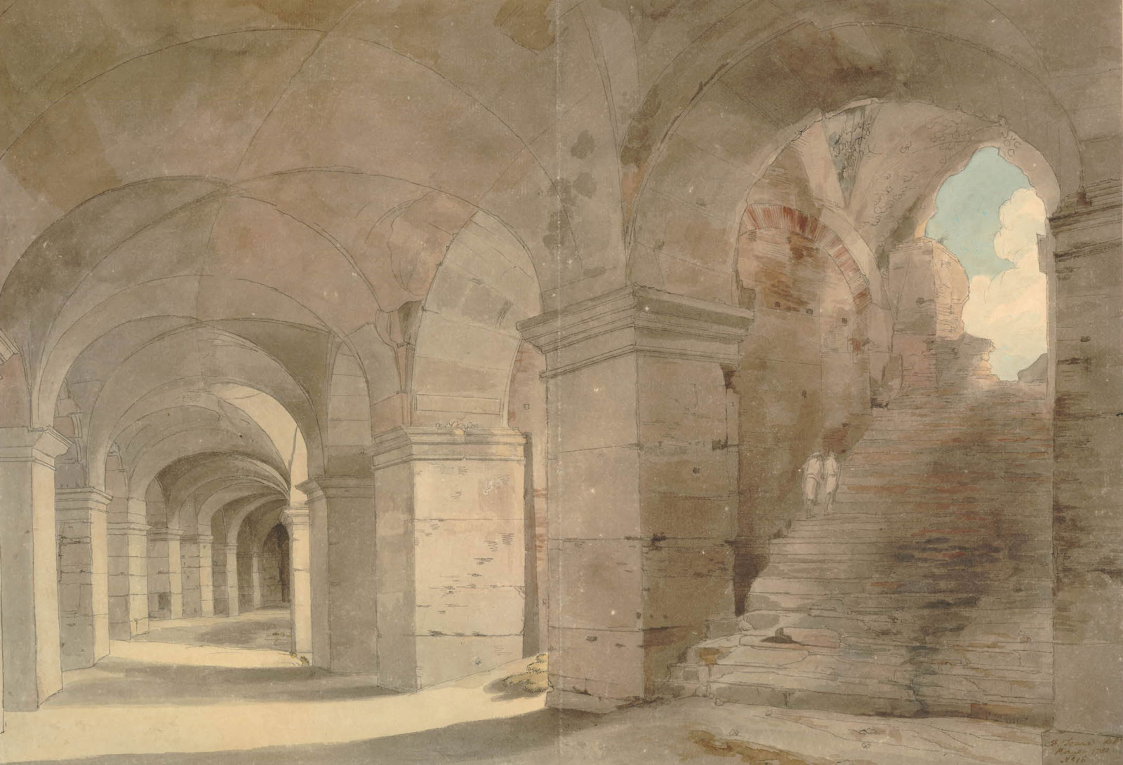 Francis Towne: A Gallery of the Colosseum, 1780