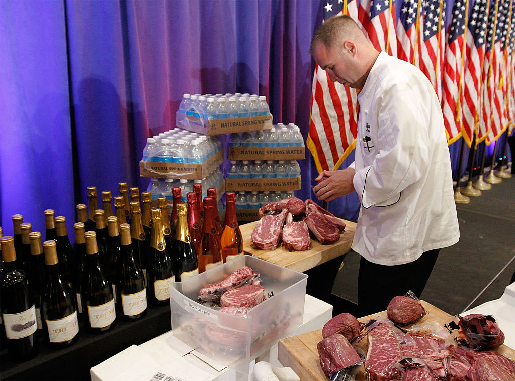 Trump wine and Trump steaks at Donald Trump's press conference, Trump National Golf Club, Jupiter, Florida, March 8, 2016