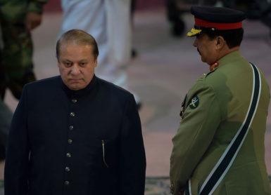 Pakistani Prime Minister Nawaz Sharif and army chief General Raheel Sharif, Islamabad, Pakistan, August 14, 2015