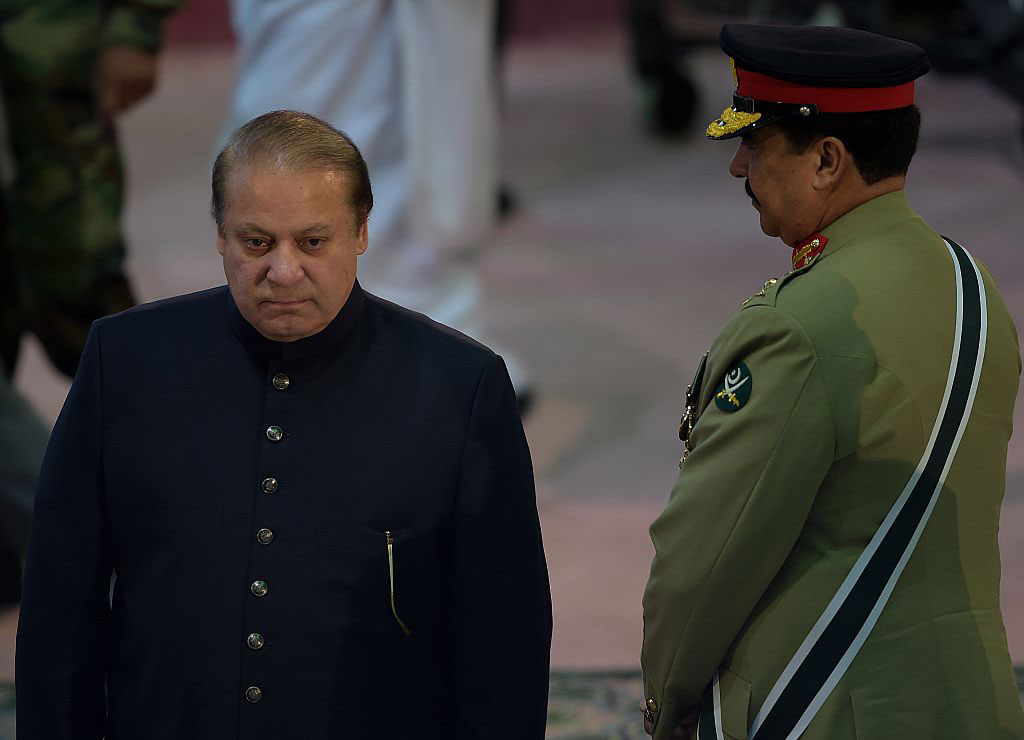 Pakistani Prime Minister Nawaz Sharif and army chief General Raheel Sharif, Islamabad, Pakistan, August 14, 2015
