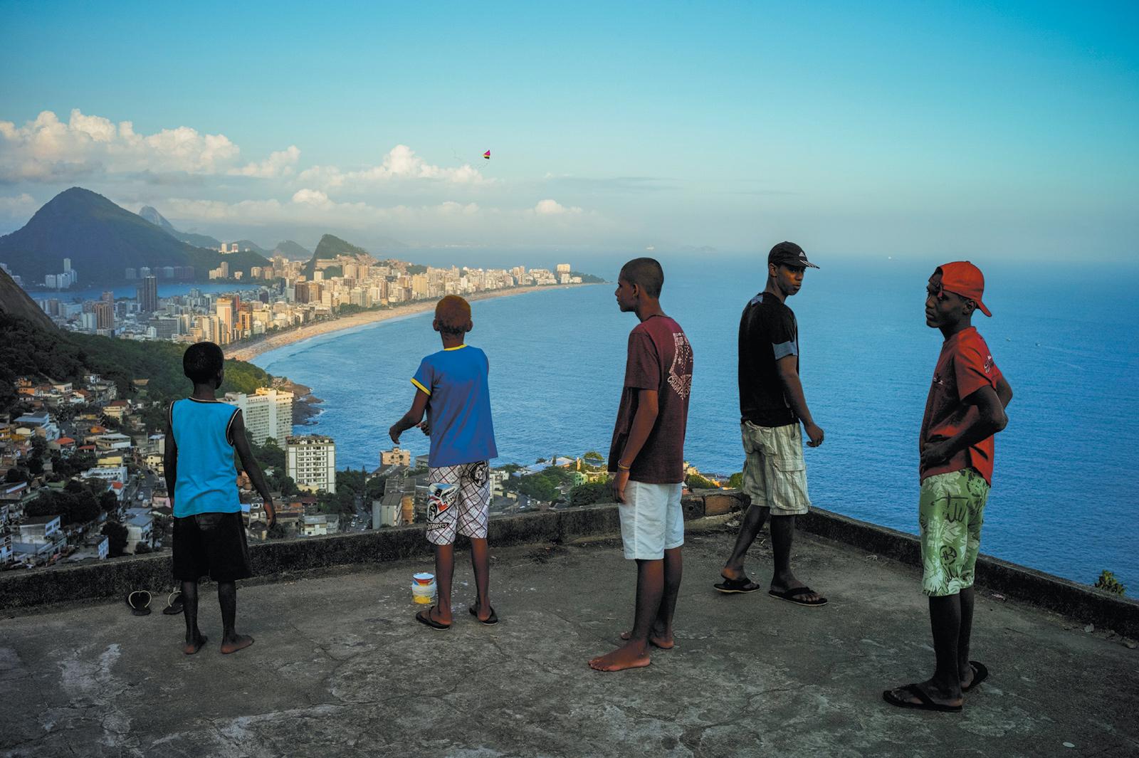 Young men at the top of the Vidigal favela, Rio de Janeiro, 2010
