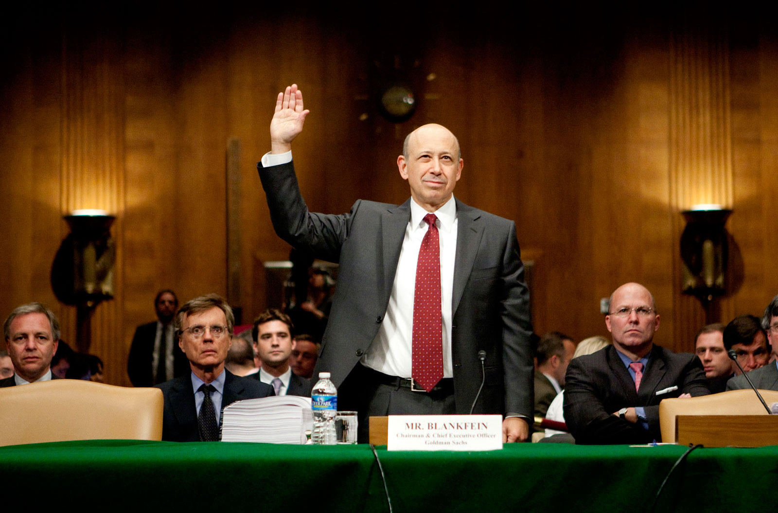 Goldman Sachs CEO Lloyd Blankfein, being sworn in at a Senate hearing on the financial crisis, Washington, D.C., April 27, 2010