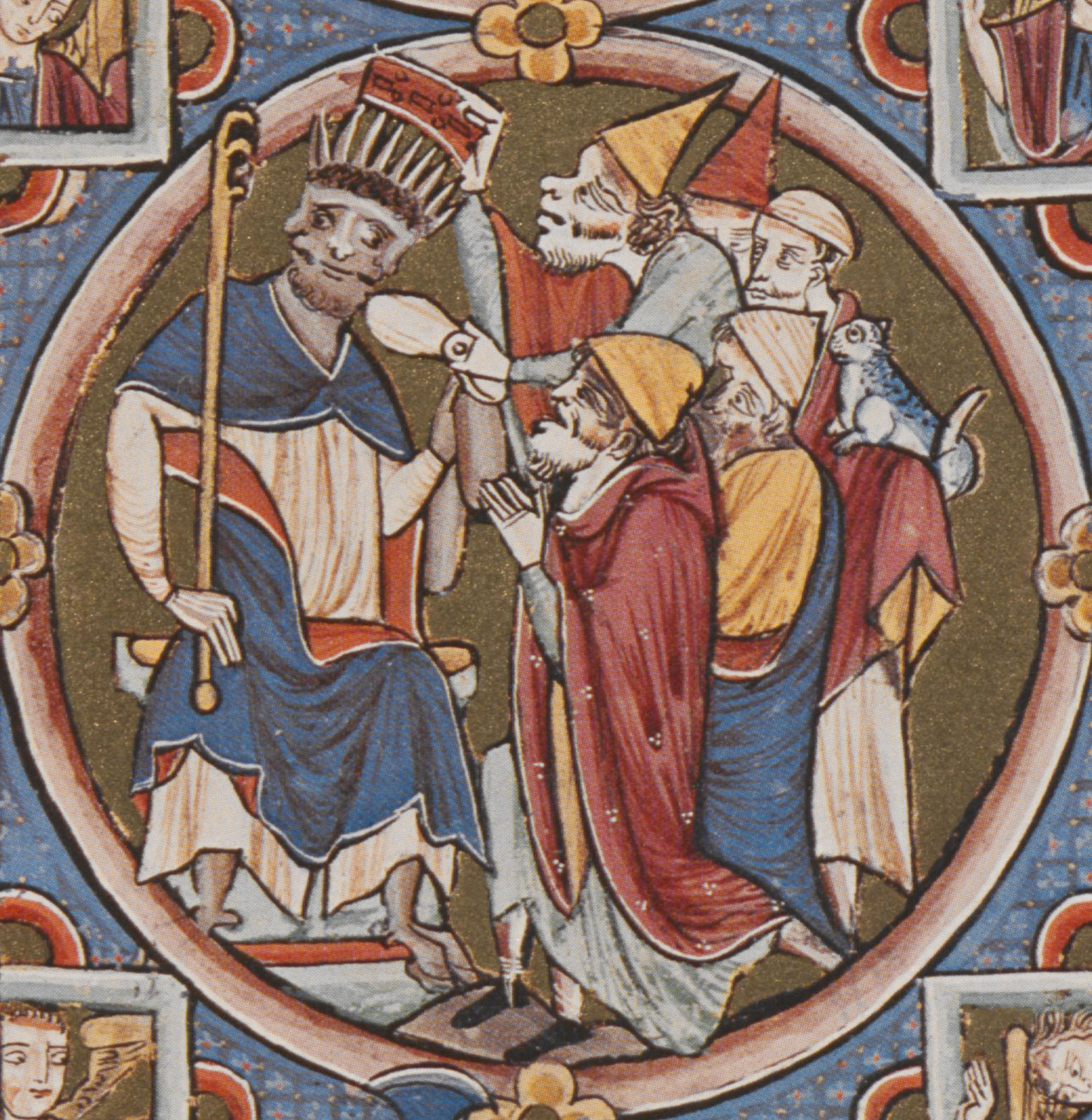 Commentary to II Kings (detail) from the Bible moralize, Paris, circa 1225