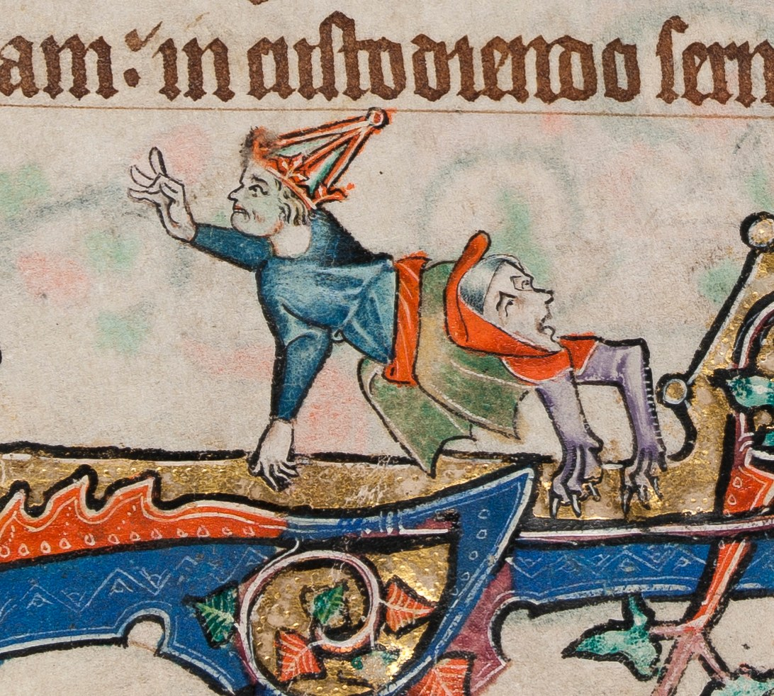 Giving the fig (detail) from The Macclesfield Psalter, circa 1330